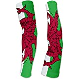 Wales Flag Compression Arm Sleeves UV Protection Unisex - Walking - Cycling - Running - Golf - Baseball - Basketball