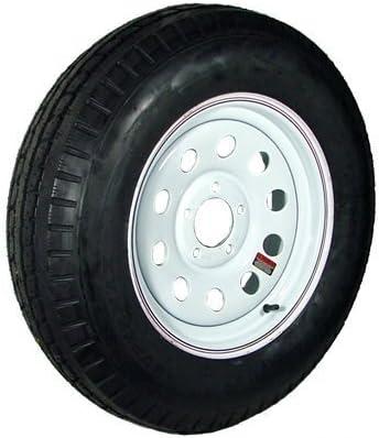 14 White ModularRed and Blue Pin Stripe Trailer WheelBias AllStar ST20575D14C Tire Mounted (5-4.5 Bolt Circle)