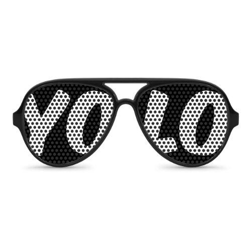 YOLO Black Party Aviator Sunglasses