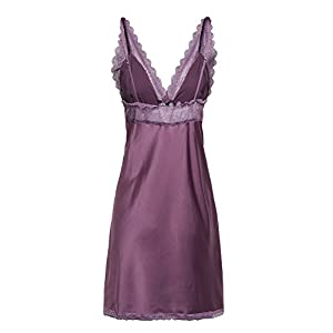 BellisMira Women's Sexy Nightwear Satin Slip Silk Sleepwear Lace Chemise Sleep Dress V-Neck Nightdress