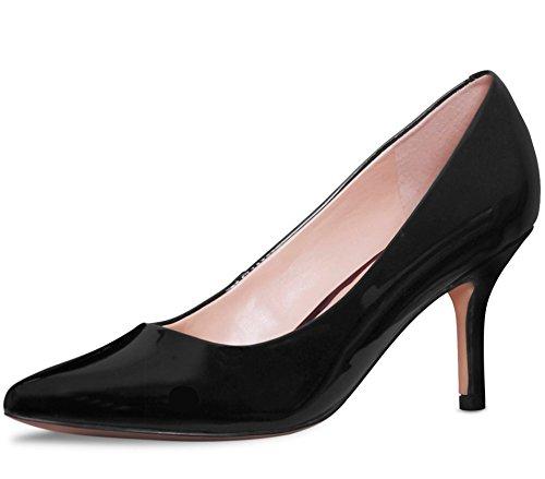 Lambskin Leather Platforms (ABUSA Women's Low Stiletto Heel Dress Platform Pointed Toe Wedding Work Pumps Shoes - Clearance Shiny Black 8.5)