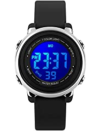 Kids Watch Sport Multi Function 50M Waterproof LED Alarm Stopwatch Digital Child Wristwatch for Boy Girl Black