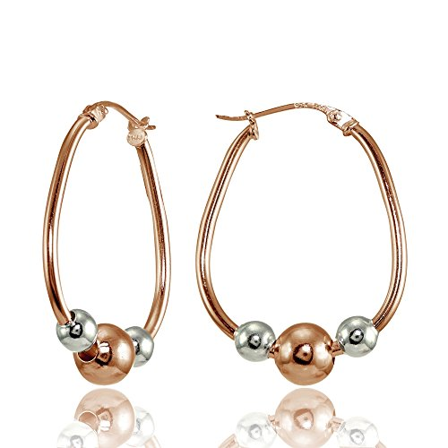 (Rose Gold Flashed Sterling Silver Two-Tone Polished Beaded 18mm Hoop Earrings)