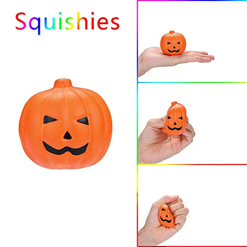 Scented Squishy Toys Halloween Simulation Pumpkin Squeeze Scented Squishies Slow Rising Stress Relief Toy Great Gift for Adults and Kids, Party Birthday Toys (A) -