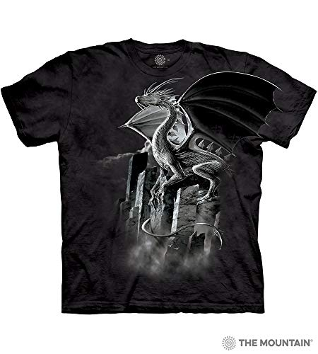 (Silver Dragon T-Shirt by The Mountain 100% Cotton Short Sleeve Shirt to fit Teens & Adults Size: XL)
