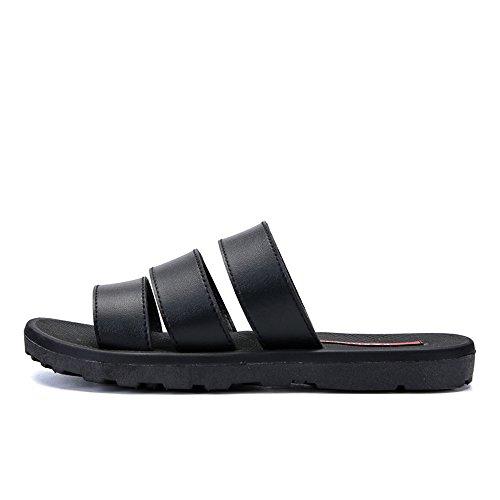 Easy Go Shopping Men's Pool Slide Leather Vamp Slip On Slipper,Flip Flop Sandals for Men Black