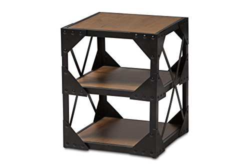 - Baxton Studio Roger Antique Black Textured Finished Metal Distressed Wood Occasional Side Table