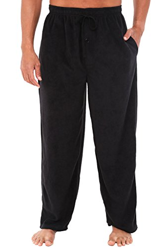 Alexander Del Rossa Men's Warm Fleece Pajama Pants, Long Lounge Bottoms, Medium Black (A0328BLKMD)