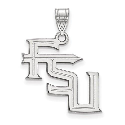 Fsu Pendant Seminoles (Jewelry Stores Network Florida State University Seminoles FSU Letters Pendant in Sterling Silver L - (20 mm x 20 mm))