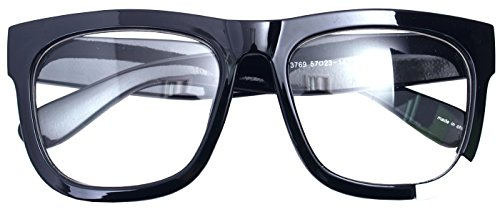 Big Square Horn Rim Eyeglasses Nerd Spectacles Clear Lens Classic Geek Glasses (Black 37694, - Black Rim Glasses