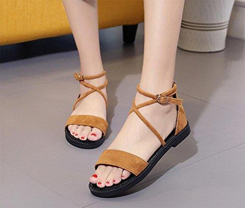 Verano zapatos abiertos hebilla sandalias planas de los zapatos de los estudiantes Yellow