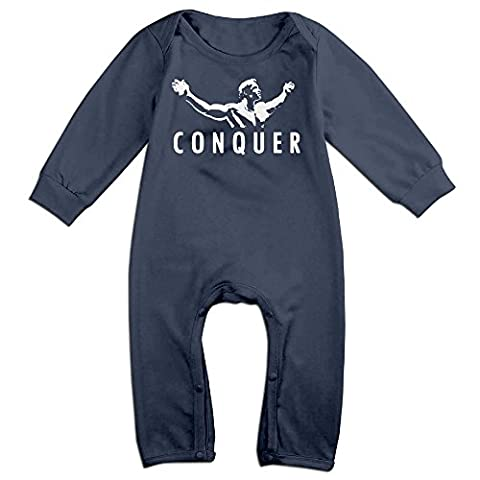 NOXIDN SMWI Baby Infant Romper Arnold Quote Conquer Pose Long Sleeve Jumpsuit Costume,Navy 6 M (Arnold Schwarzenegger Jacket)
