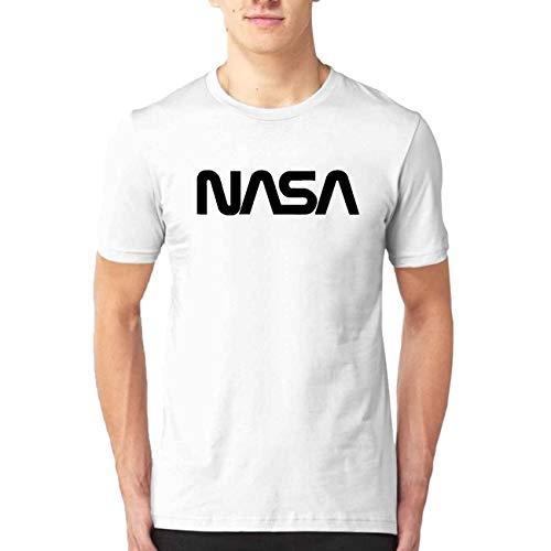 (PMHS8 NASA Worm Logo Men's Fashion Print T-Shirt Short Sleeve Blouse Tank Tops White M)