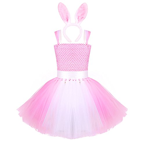 YiZYiF Kids Girls Fancy Party Tutu Skirt Birthday Costumes Dress up with Bunny Ears Headband