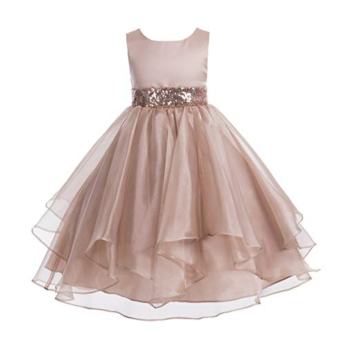 ekidsbridal Asymmetric Ruffled Organza Sequin Flower Girl Dress Toddler Girl Dresses 012S 10 Rose Gold