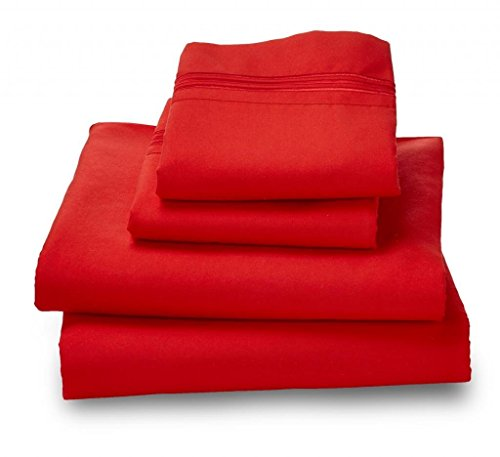 (Where The Polka Dots Roam Microfiber Easy Care Luxury Sheet Set, Queen, Red)