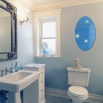 JWQT Acryl Rechteckig Oval Spiegel An Der Wand Kleben Auf Selbstklebende Entfernen Wohnzimmer Badezimmer