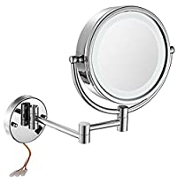 GURUN 8.5 Inch LED Lighted Wall Mount Hardwired Makeup Mirror with 10x Magnification,direct wire,Chrome Finish M1809D (8.5in, Chrome hardwire)...