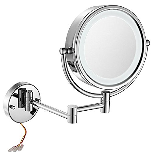 GURUN 8.5 Inch LED Lighted Wall Mount Hardwired Makeup Mirror with 10x Magnification,direct wire,Chrome Finish M1809D (8.5in, Chrome hardwire)... ()