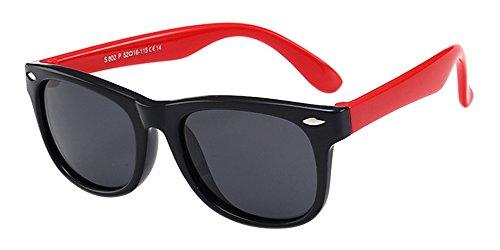 XFentech Unisexe Enfants Wayfarer Polarisées Lunettes de Soleil pour Garçons & Filles Monture en caoutchouc flexible Sport Lunettes Noir/Rouge