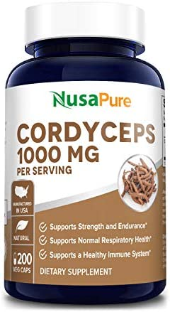 Cordyceps Extract 1000 mg 200 Veggie Capsules Non-GMO Gluten Free Cordyceps Sinensis – Healthy Immune Support, Energy Immunity Booster