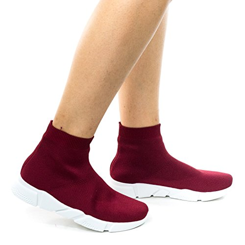 Flight01 Burgundy Red High Top Ribbed Crochet Stretch Knit Sock Sneaker w White Midsole -6