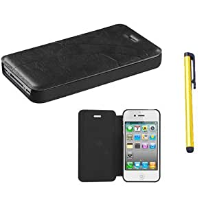MEIMEI Fits Apple iPhone 4 4S Black Premium Book-Style MyJacket Wallet 911 AT&T, Verizon (does NOT fit Apple iPhone or iPhone 3G/3GS or ipod touch 5/5S/ipod touch 5)LINMM58281