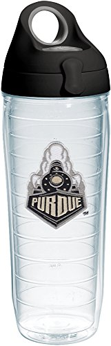 (Tervis 1231626 Boilermakers Purdue Train Insulated Tumbler with Emblem and Black with Gray Lid, 24oz Water Bottle, Clear)
