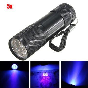 Lights & Lighting - 5pcs 385-400nm 9 Violet Flashlight Black Aaa - Ultraviolet Torch - Review Jet Lenses