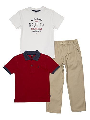 Nautica Baby Boys' Short Sleeve Polo, Tee, and Twill Pant Set, Red Rouge, 18 - Twill Infant Pants Boys