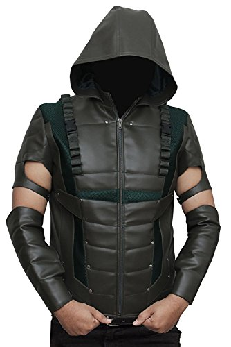 [Arrow Hoodie Leather Costume Jackets - Available in 3 Designs XL] (Green Arrow Hoodie Costume)