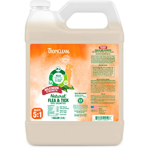 TropiClean Flea and Tick Maximum Strength Shampoo for Dogs, 1 gal, Made in USA