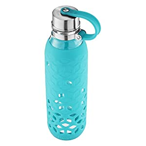 Contigo Purity Glass Water Bottle, 20 oz. with Silicone Petal Sleeve, Scuba,