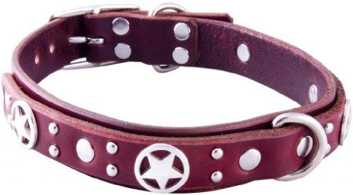 "Paco Collars - ""Pandora Deluxe"" - Handmade Leather Medium Dog Collar - 1""Wide - Silver - Black 20""-22"""