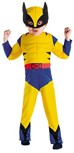 Boys Wolverine Muscle Kids Child Fancy Dress Party Halloween Costume, S (4-6) (Wolverine Muscle Costume)