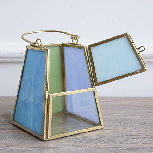 Cyl Home Candle Lanterns Tiffany Stained Church Glass Brass Frame Hanging Hurricane Tea Light Holder Lamp Centerpiece Accent Gift Wedding Housewarming Tea Party, Green Blue Tint, 5.9'' H x 5.1'' - Tower Holder Tealight