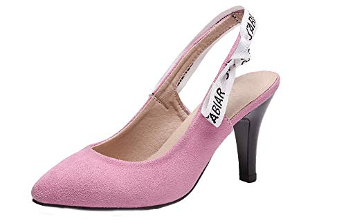 VogueZone009 Women Frosted High-Heels Closed-Toe Solid Pull-On Sandals, CCALP014877 Pink