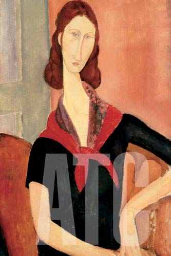 ArtToCanvas 24W x 36H inches : Young Woman with Scarf by Amedeo Modigliani - Framed Canvas