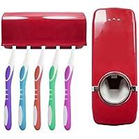 OurLeeme Support pour Fixation Murale Automatique Distributeur Automatique de Dentifrice avec 5 Porte-Brosse à Dents Set Blanc (Rouge)