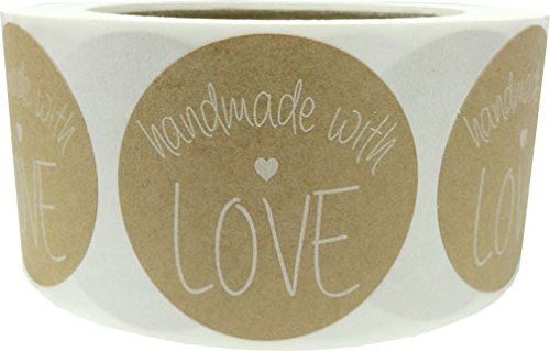 2 Round Handmade With Love Natural Kraft Stickers with White | 500 Total Adhesive Labels