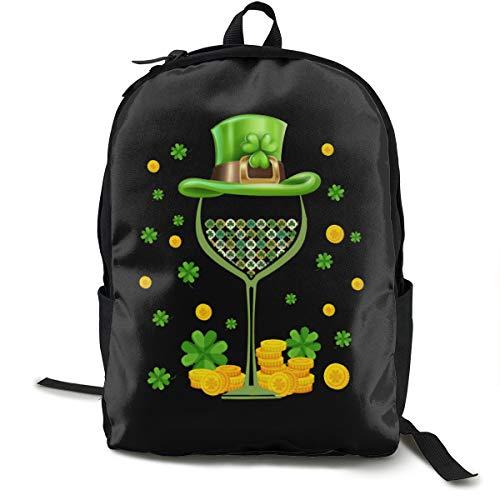 LSJGG Classic DIY Backpack,Shamrock Wine Glass Top Hat School Bag Travel Lightweight Daypack.