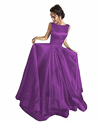 GMAR Romantic Backless Evening Dresses Ruched Satin Long Ball Gown Prom Dress