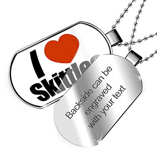 NEONBLOND Personalized Name Engraved I Love Skittles Dogtag Necklace ()