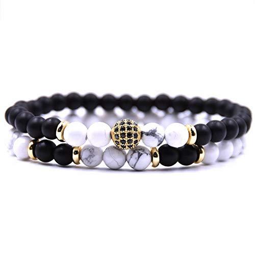 Mikash 2 Pcs Natural Lava Stone Buddha Lions Leopard Skull Beads Charm Mens Bracelets | Model BRCLT - 7383 |