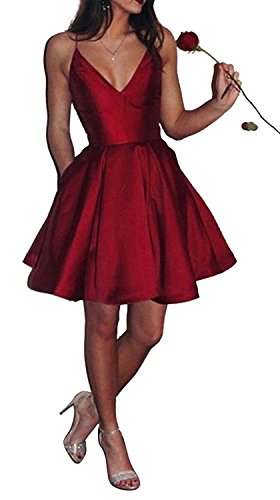 Jazylynbride Short A-Line V-Neck Spaghetti Straps Satin Homecoming Dress With Pockets