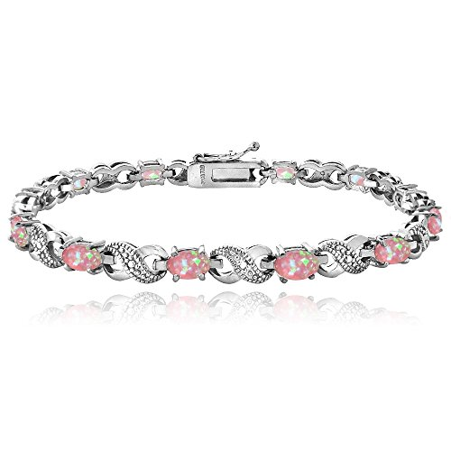 Bria Lou Silver Flashed Brass Created Pink Opal & Diamond Accent Infinity Link Bracelet, 7.5