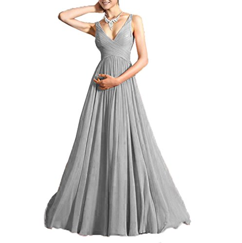 - DingXuBao Women's Sleeveless Grecian Style Prom Dress(US4, Silver Gray)
