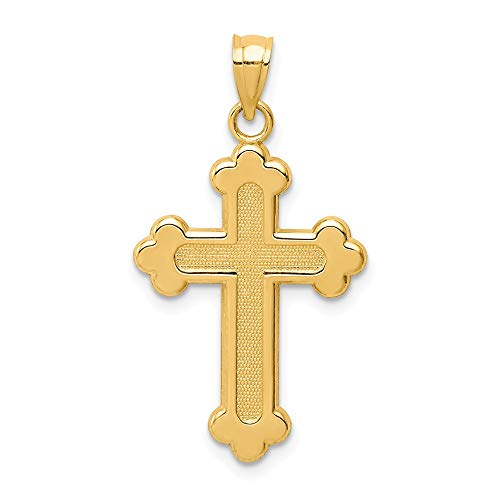 Solid 14k Yellow Gold Satin & Polished Budded Cross Pendant (16.3mm x 29.9mm)
