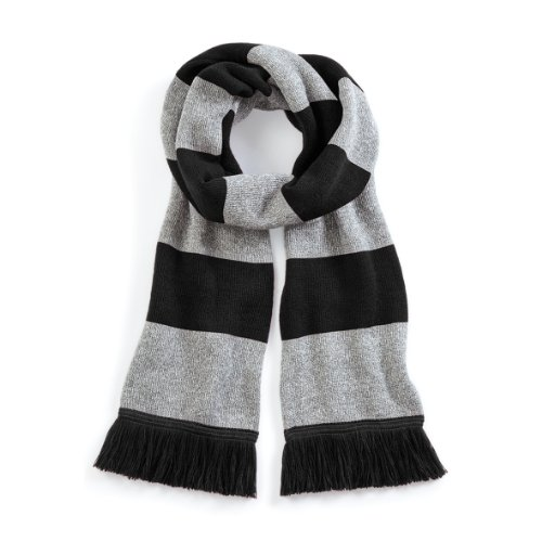 Beechfield Varsity Unisex Winter Scarf (Double Layer Knit) (One Size) (Black / Heather Grey)]()