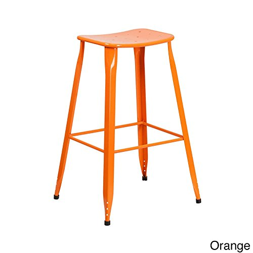 Offex Metal 30-inch High Backless Design Indoor/Outdoor Barstool Orange by Offex